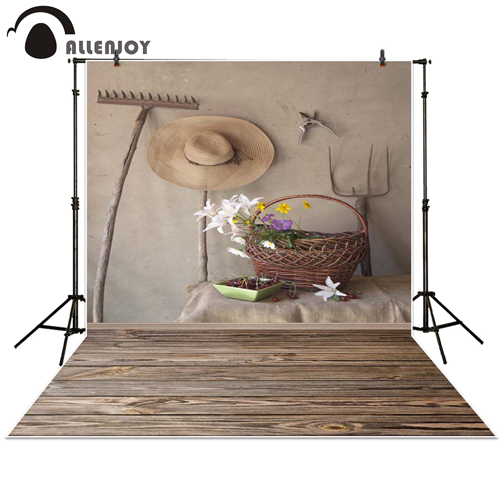 Allenjoy photography backdrop rural Farmers straw hat basket tool flower plank baby shower background photo studio photocall getachew telayneh jemberie hindrances to farmers participation