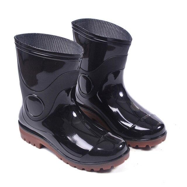 Regen Solid Zwart Wellies Op Rubber Vissen Heren Antislip Laarzen sQrxBhdCt