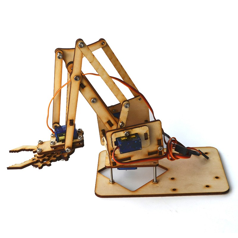 New Hot 4DOF Wood Arm Mechanical Arm Kit with SG90 Servo for Arduino Light For RC Toys Models Mass Production Robot Spare Parts 4 dof wood robotic arm sg90 servo for arduino raspberry pie snam1500