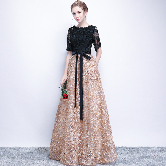 Evening Dresses 2018 New Elegant O-neck Lace Cut-out Half Sleeve Luxury Applique Long Noble Banquet Party Prom Robe De Soiree X 2