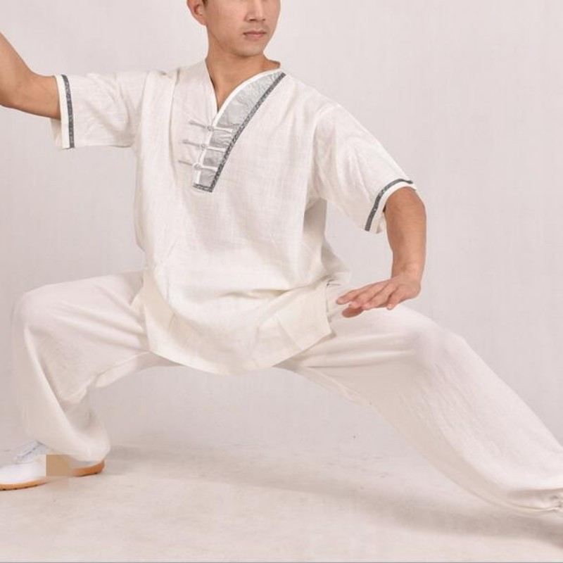 Top Quality Breathable Cotton Linen Chinese Style Wu Shu Costume Tai Chi Wing Chun Kung Fu Clothes Pure Suits For Men Sportswear