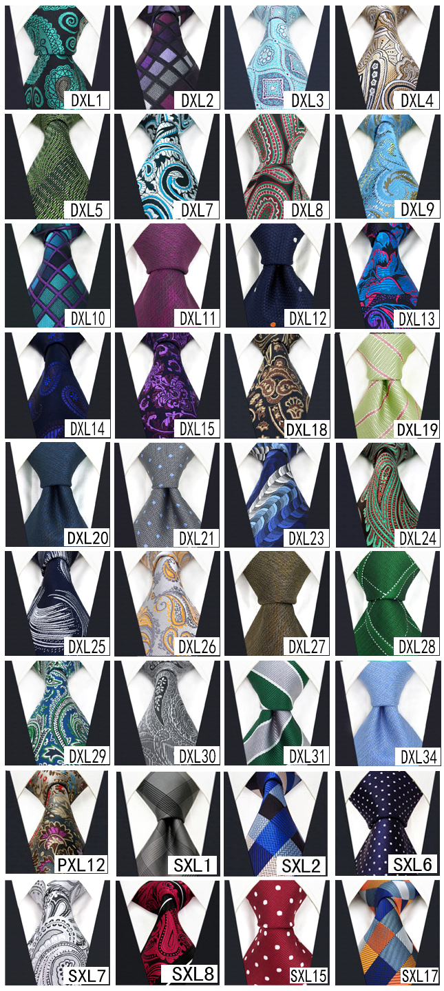 Image 3 - Wholesale Assorted Mens Ties Necktie Extra Long Size 63 inches Free Shipping 100% Silk Wedding Fashion Mixed Lot-in Men's Ties & Handkerchiefs from Apparel Accessories