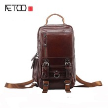 AETOO New shoulder bag men fashion leisure travel large capacity first layer oil wax cowhide men shoulder