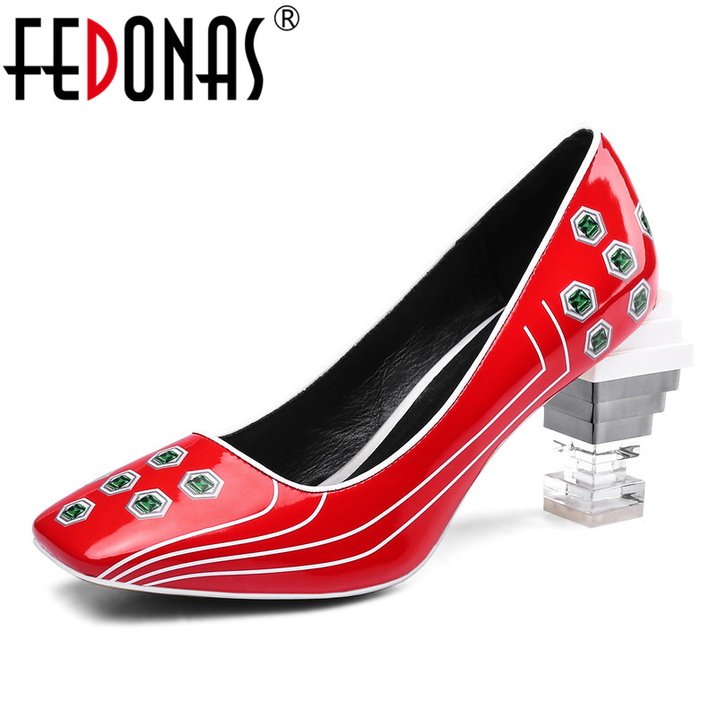 FEDONAS Fashion Patent Leather Punk Women Pumps Square Toe High Heeled Night Club Shoes Spring Summer