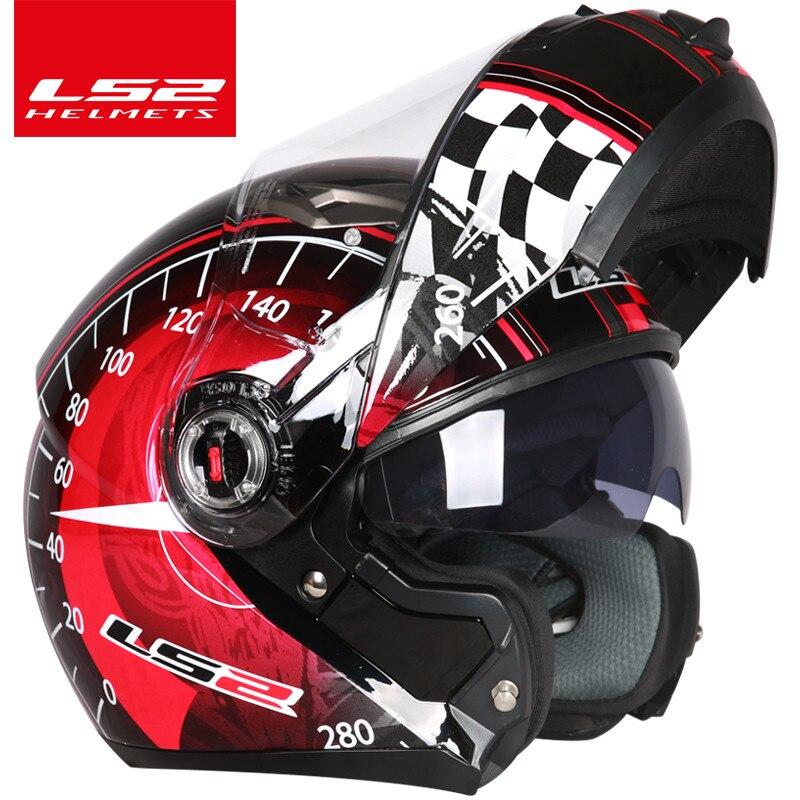 LS2 FF370 flip up motorcycle helmet dual shield with inner sunny lens modular moto racing helmets ECE certification casque moto-in Helmets from Automobiles & Motorcycles