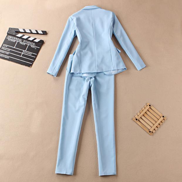 Haut Deux Grande Femmes blanc Costume Taille Gamme Mode De Ciel Ensembles Bleu Deux Femme pu Veste pièce Nouvelle B0IwzqAA
