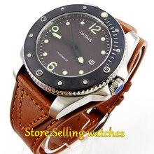 Miyota Parnis 43mm Café dial cristal de Safira Mecânico Automático Mens Watch