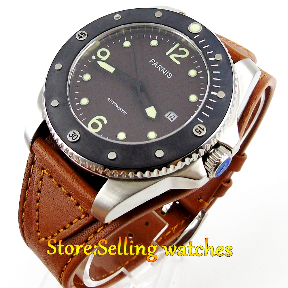 Parnis 43mm Coffee dial Mechanical Sapphire crystal Miyota Automatic Mens font b Watch b font