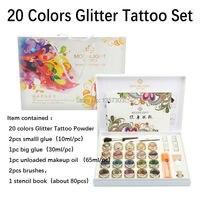 Новинка 2017 года Высокое качество 20 цветов Блеск татуировки набор порошок для боди арт Временные татуировки Кисти клей трафареты Бесплатная