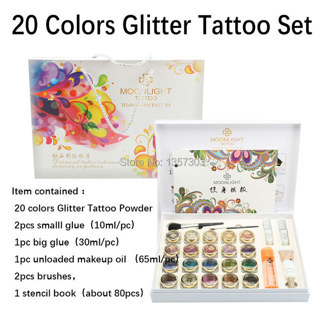 2017 New High Quality 20 Colors Glitter Tattoo set Powder for Body Art Temporary Tattoo Brushes Glue Stencils Free Shipping