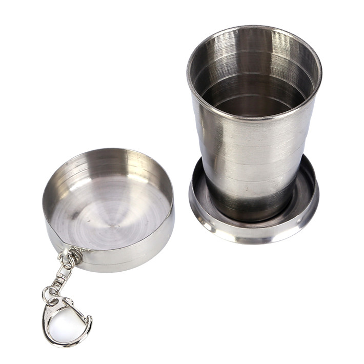 Stainless Steel Camping <font><b>Folding</b></font> <font><b>Cup</b></font> Mug <font><b>Traveling</b></font> <font><b>Outdoor</b></font> Camping <font><b>Hiking</b></font> <font><b>Folding</b></font> Portable With Keychain <font><b>Collapsible</b></font> <font><b>Cup</b></font>