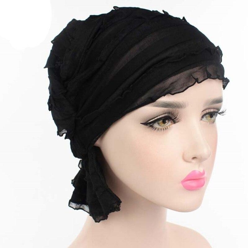 11 Color Womens Ruffle Chemo Hat   Beanie   Scarf Turban Headwear For Cancer New Fashion Chiffon Casual Solid Hats