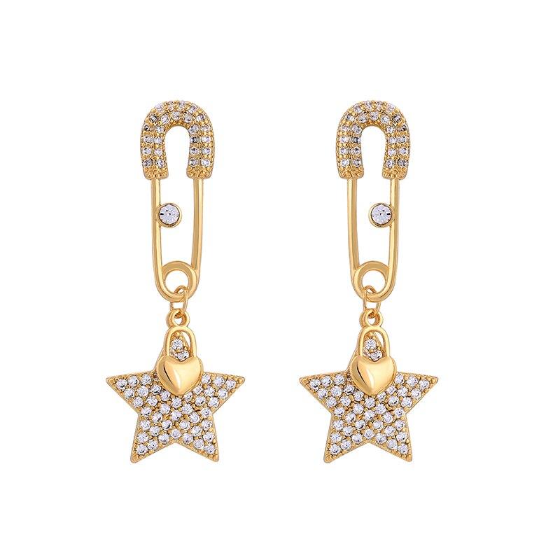 High Quality Star Drop Dangle Earrings Jewelry Trendy For Women Crystal Geometric Heart Long Earrings Dress Accessories