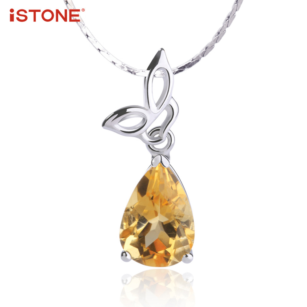 iSTONE Natural Gemstone Pendant Water Drop Shape Citrine Pendant Necklaces With 925 Sterling Silver Chain Fine Jewelry for Woman