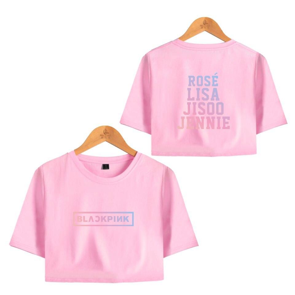 8db6834cc Frdun Tommy 2018 New BLACK PINK hot trend fashion sala Sexy Crop Tops Soft  T-shirt Women Kpop 2018 New Sexy Style Girl Tshirts