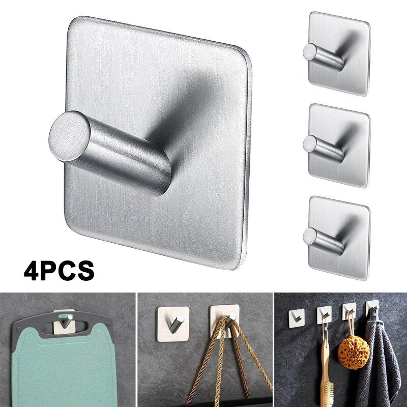 4Pcs Stainless Steel Self Adhesive Hooks Towel Rack Home Bathroom Wall Hook LBShipping