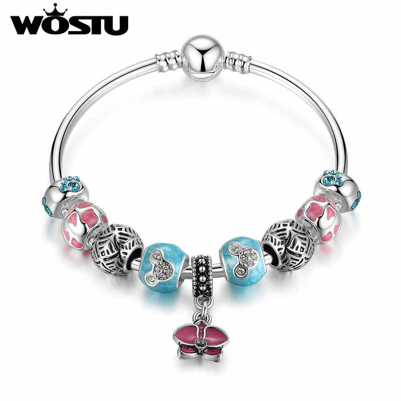 2019 New Fashion Style Orchid Blessing Charms Bangle For Women Silver DIY Beads Fit Original  Bracelet Jewelry Gift XCH3087