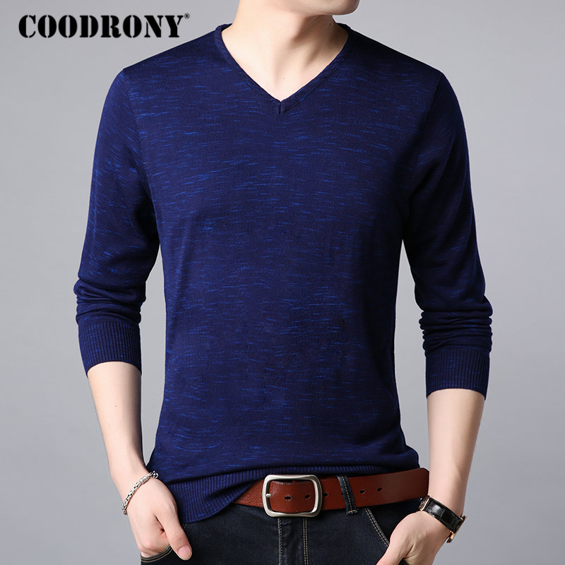 COODRONY Brand Sweater Men Streetwear Fashion V-Neck Pullover Men Autumn Winter Cashmere Wool Sweaters Knitwear Pull Homme 91070