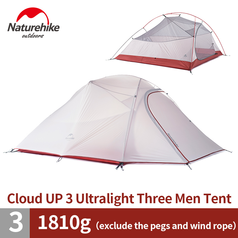 NatureHike 3 Person Lightweight Camping Tent Outdoor Hiking Backpacking Ultralight 3 Man Best Family Camping Tent with Mat