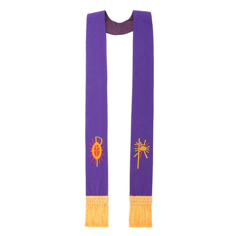 Priest Purple Confessional Stole Church Embroidered Visitation stole with Fringe