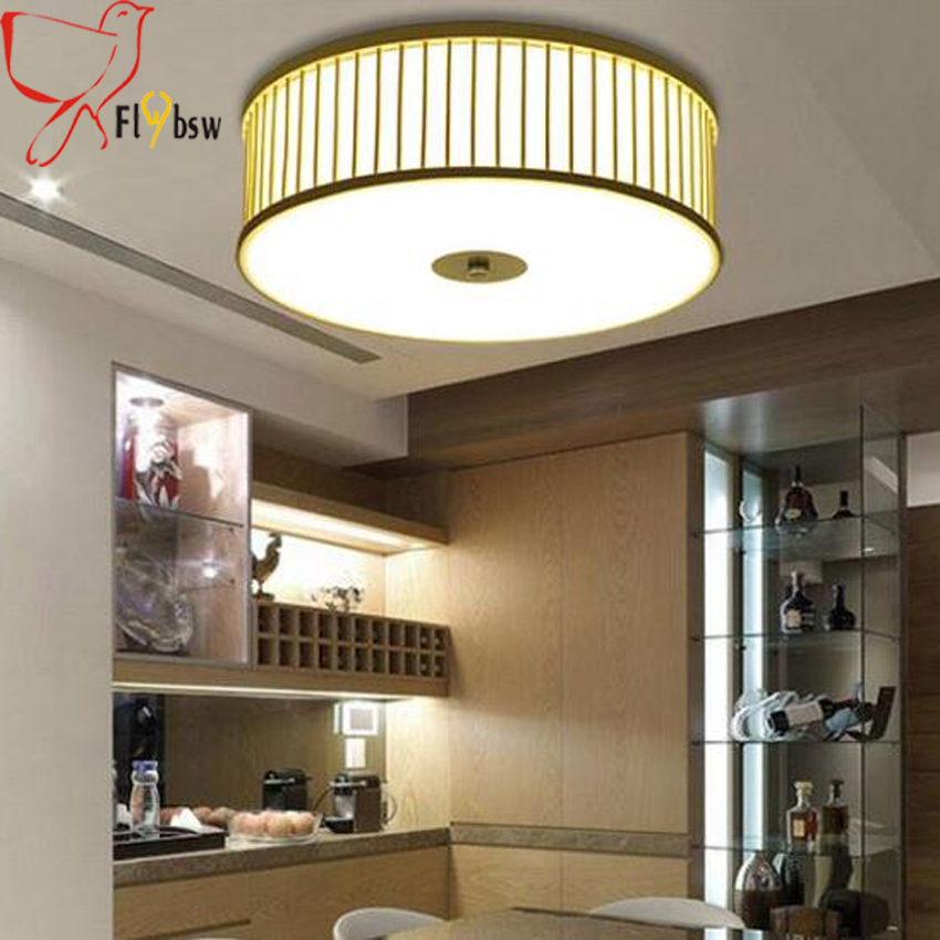 New Chinese bamboo wood ceiling lights dia 40 52cm modern led ceiling fixtures for bedroom dining living room lighting fixture