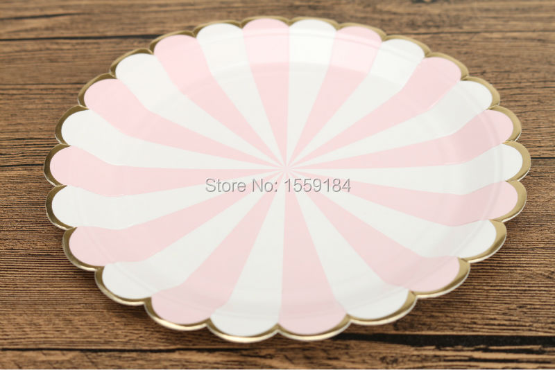 Free Shipping 240pcs Scallop Shell Style Paper Plates Light Pink Striped and Metallic Foil Gold Edge for Girls Baby Shower