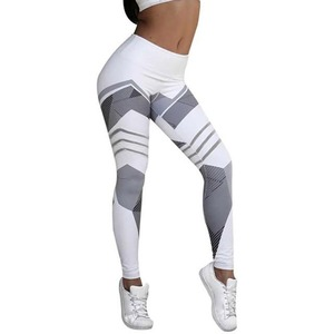 Image 5 - Leggings con stampa a motivo a rete Leggings fitness per donna Leggings sportivi da allenamento pantaloni Slim neri bianchi elastici pantaloni Fitness