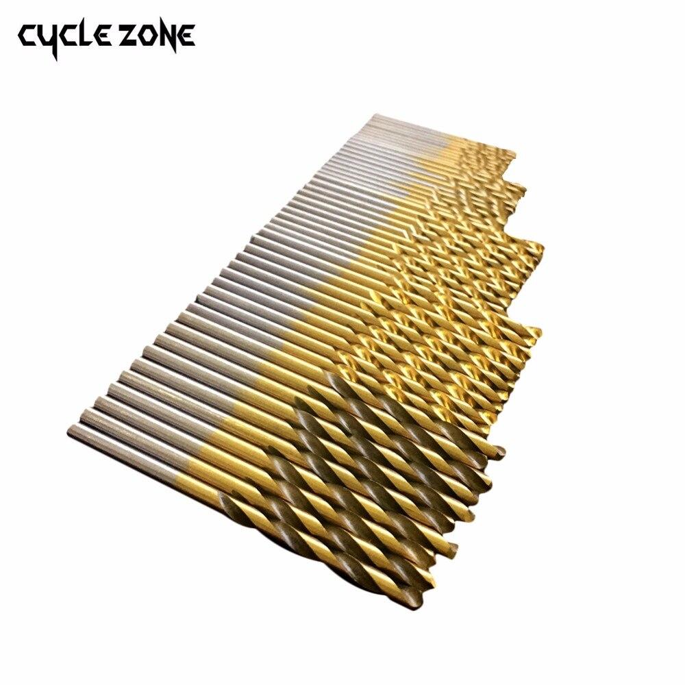 50Pcs/Set Titanium Coated Twist Drill Bit Set 1/1.5/2/2.5/3mm High Speed Steel Wood Drilling Metalworking Power Tool Hot Sale