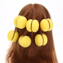 6 Pcs Lady Soft Yellow Pink Magic Sponge Hair Curler Hair Styling Rollers Hair Care Foam Balls Curlers Bun Hairdressing DIY Tool(China)