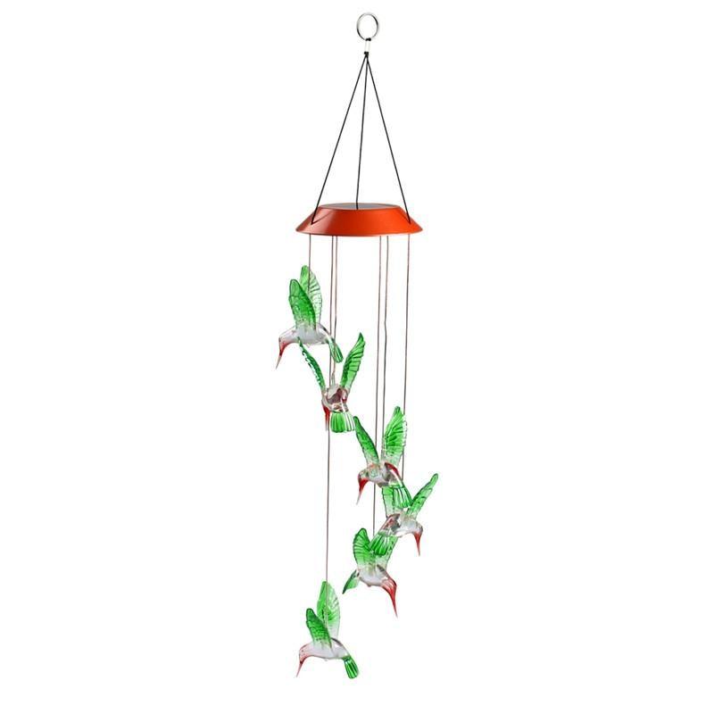 led solar light humming bird wind chime dangler led multi