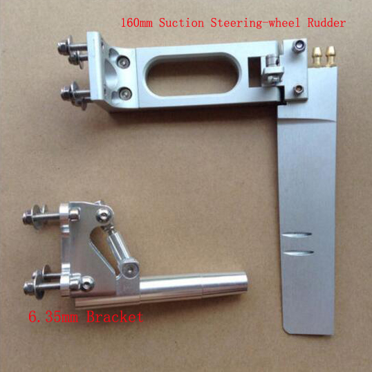 Aluminum Alloy 160mm Dual Suction Steering-wheel Rudder + 6.35mm Bracket Mount Length 95mm Set for RC Petrol Boats Spare Parts 1set 160mm dual suction steering wheel rudder 100mm shaft bracket diameter 6 35mm soft shaft bracket for rc boat spare parts