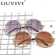 GUVIVI Na Moda Sem Aro Óculos De Sol Rodada oculos Feminino Retro Vintage  Marca Designer Óculos De Sol Das Mulheres Óculos de So. 346565f4db