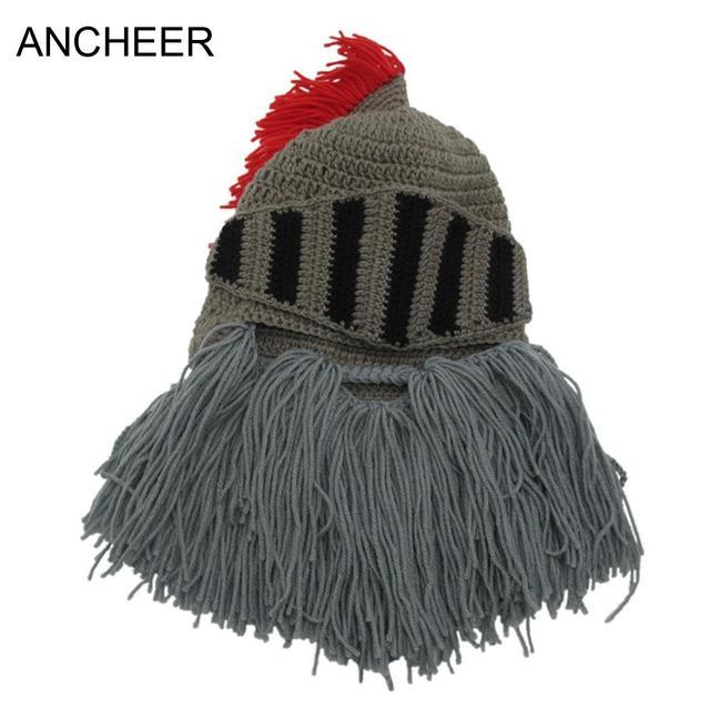 384b127e543 US $16.28 |Shape wash only Men's Bearded Cosplay Knight Beard Hat Tassel  Funny Caps not Hand Hats Knit Helmet Do Winter Warm wring-in Skullies & ...