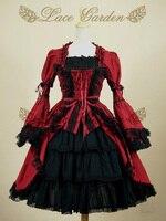 Vermelho Princesa Traje Lolita Rendas Gótico Do Vintage Palácio Cosplay Vestidos de Baile Mangas Curtas Multilayer Princesa Lolita Vestido Personalizado