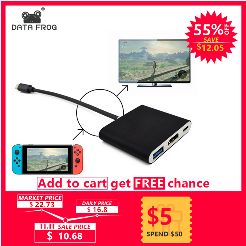 Data Frog HDMI Type C Adapter For Nintend Switch Hub USB-C to HDMI Mini Dock Station HD Transfer For MacBook Xiaomi Laptop Phone route wireless bluetooth 3 0 edr type c hifi adapter audio usb transmitter transceiver headset for nintend switch for pc laptop