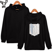 BTS Attack On Titans Hoodies Men Zipper Japan Popular Anime Mikasa Casual Coat Winter Hooded Sweatshirt Men Zipper 4XL Clothes