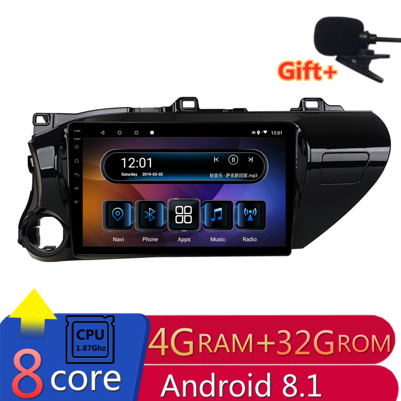 "10"" 4G RAM 2.5D IPS 8 Core Android 8.1 Car DVD Multimedia Player GPS For Toyota Hilux 2016 2017 audio car radio navigation"