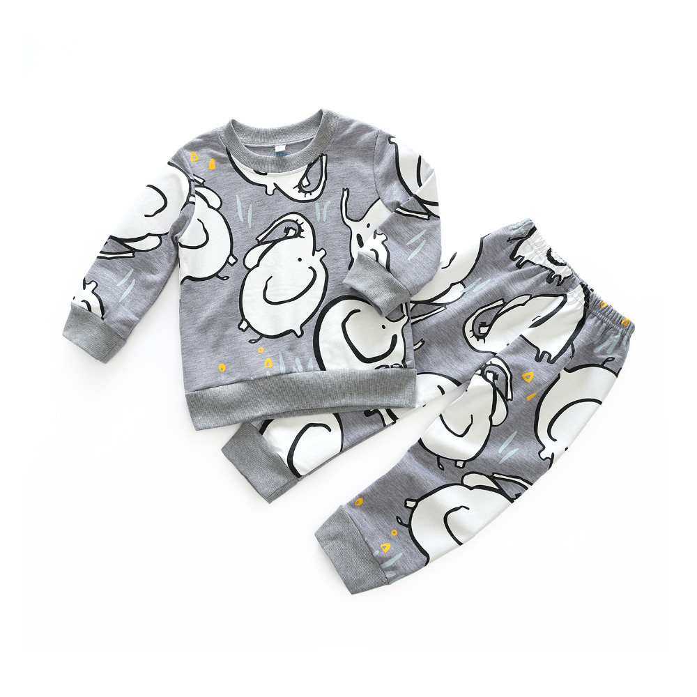 Kimocat Cartoon Elephant Casual clothes T - shirt + casual pants 2pcs Baby Boy Girl Clothes suits toddler kids warm tracksuit