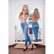 font b women s b font printed slim high elastic jeggings fake font b jeans
