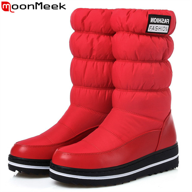 MoonMeek winter new women boots platform Down waterproof Keep warm ladies snow boots black blue red mid calf boots plus size