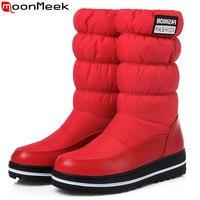 MoomMeek Winter New Women Boots Platform Down Waterproof Keep Warm Ladies Snow Boots Black Blue Red