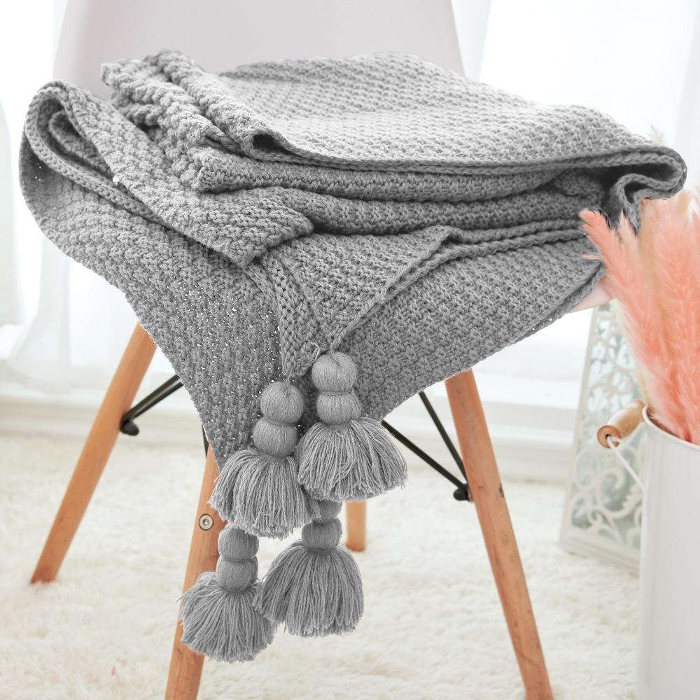 Mylb Plain Air Conditioning Travel Blanket Knitted Blanket For Bed Sofa Cover Home Textile Throw Blanket Anti-Pilling Portable