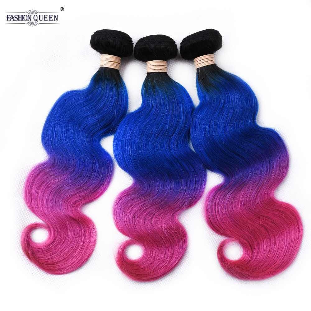 Бразильская волна тела 3 пучка s 100 г/комплект TB Синий Розовый Омбре цвет человеческих волос пучок s не Реми волос