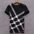 2016 new arrived casual plaid printing short sleeve men t shirt hight quality cotton breathable tops bape summer men clothing