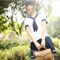 Navy sailor Suit Female Preppy Style School Uniform Pleated Class Service Set top and skirt two piece with socks