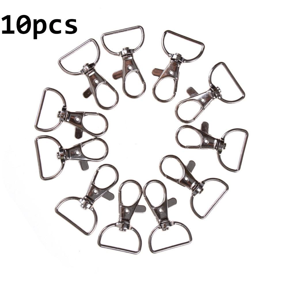 10pcs/lot Classic Key Chain Ring Silver Metal Swivel Lobster Clasp Clips Key Hooks Keychain Split Ring DIY Bag Jewelry