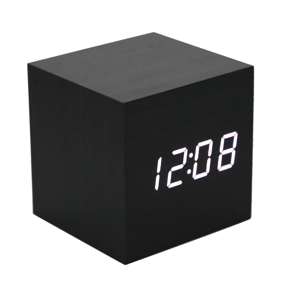 Multifunction Voice Control Desk Alarm Clock Modern Wooden Cube Digital LED Thermometer Timer Calendar Electronic Desk Clocks