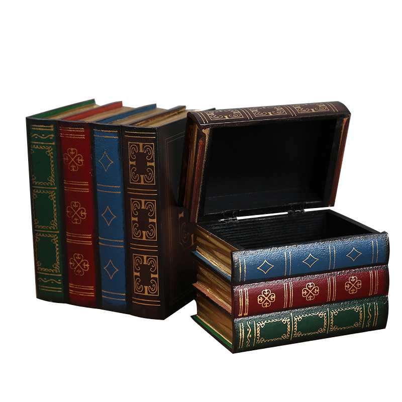 Creative Vintage Wooden Books Shape Storage Boxes Jewelry Box Ornaments Retro Desk Storage Miniature Home Decoration Craft Gifts