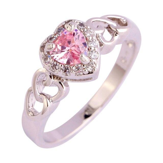 Handmade Coração cut pink CZ Gems Prateado Tamanho do Anel 6 7 8 9 10 11 12 mulheres Da Moda Jóias atacado