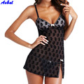 Sexy Lace Dresses Mini Night Dress Lingerie Nightwear Underwear Babydoll Sleepwear G-string Robe